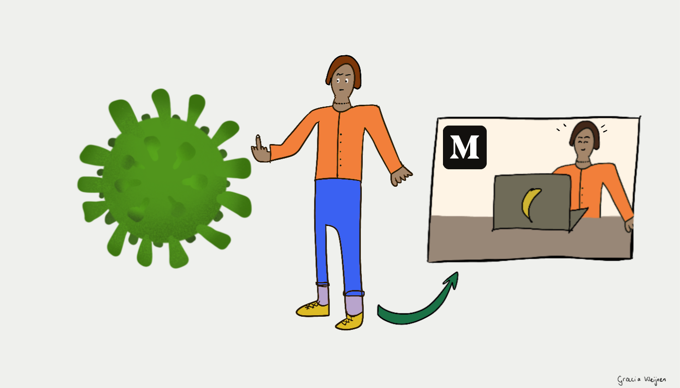 An illustrative figure showing the virus the middle finger. A rectangular comic screen on the right shows a happier figure behind a Banana laptop writing on Medium
