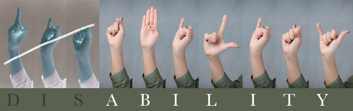 """The word """"Disability"""" letter spelled in ASL with the DIS separated from ABILITY"""