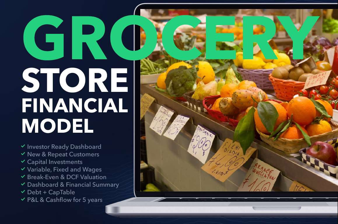Grocery store business plan financial model excel template