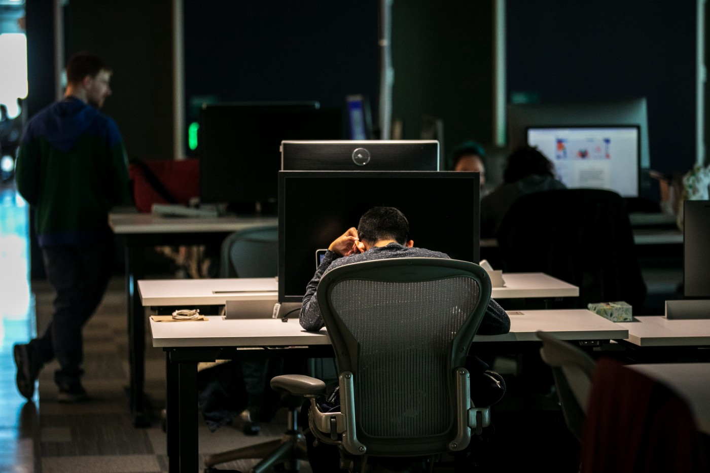 Content moderators work at a Facebook office in Austin, Texas.