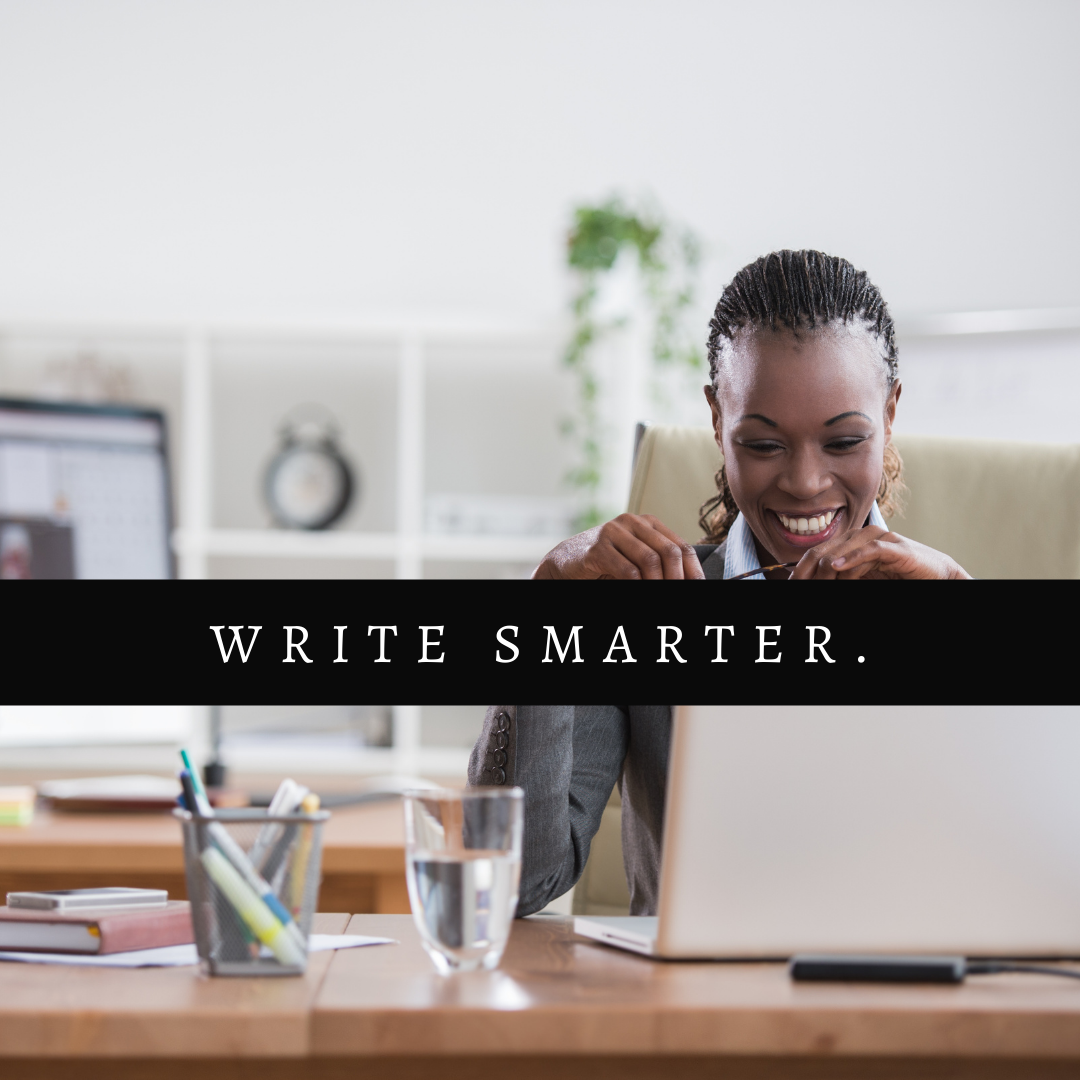 Understanding Plot and Subplot by Aigner Loren Wilson article cover. A Black person sitting in front of a computer in an office smiling. Over the image are the words write smarter. What is plot? What is subplot? How to use plot. How to use subplot.