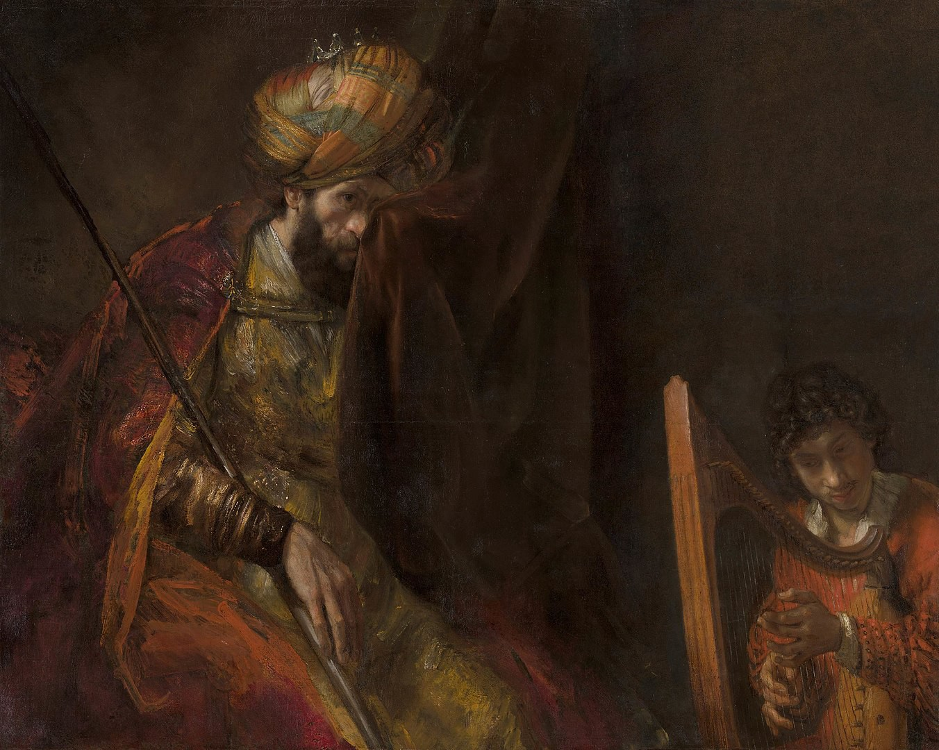 Rembrandt's painting of King Saul with David playing the harp