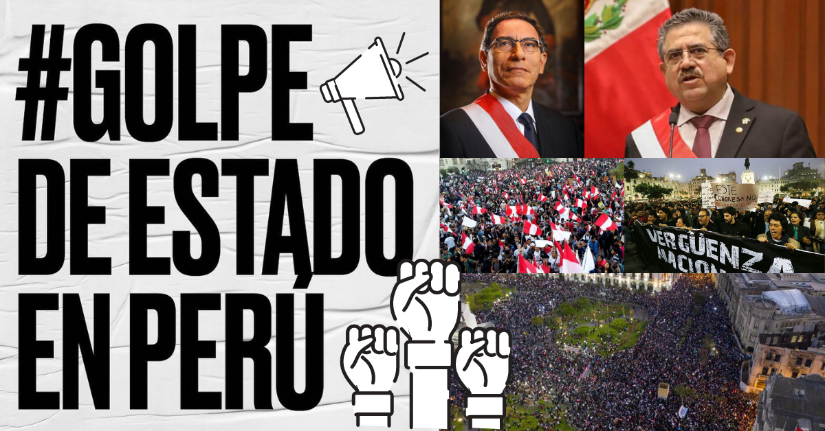 Graphic showing photos of protests in Peru