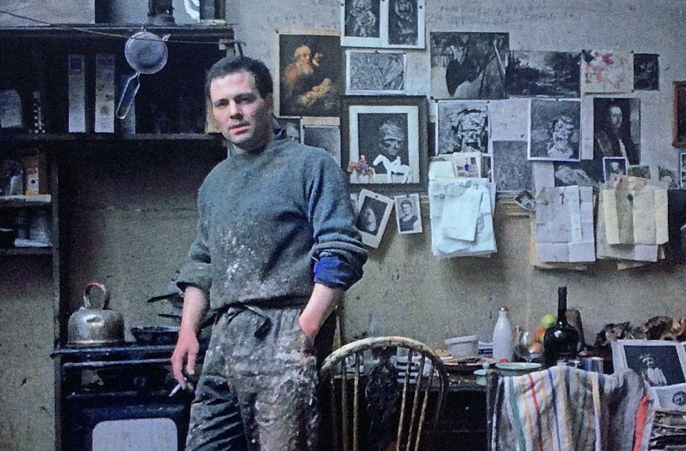 Frank Auerbach in his studio, surrounded by photocopies, notes and paraphenalia
