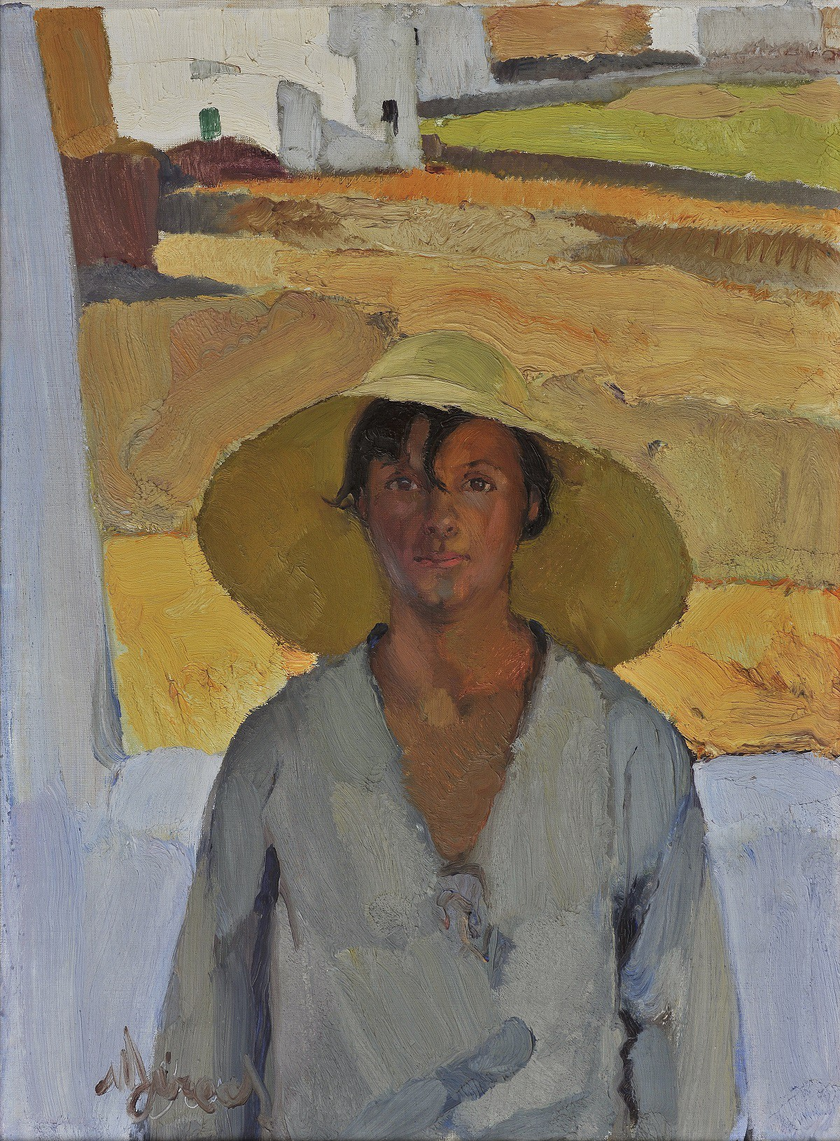 Painting of a woman wearing a sunhat