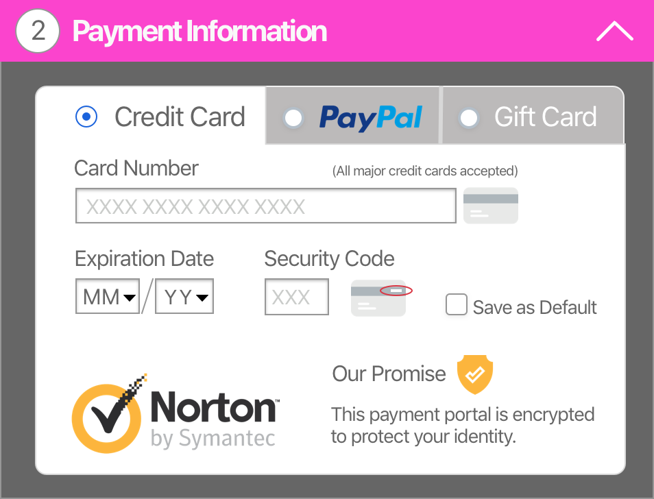 Example of a credit card form on an e-commerce website.