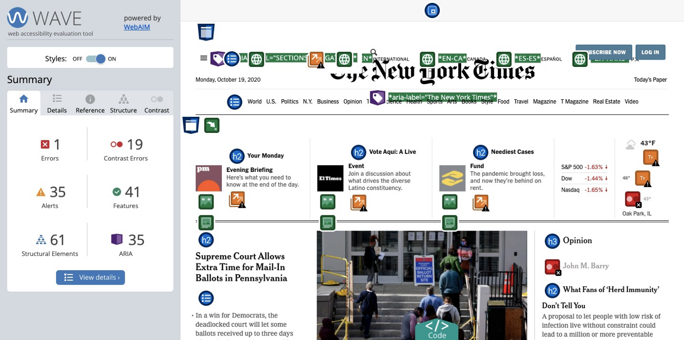 A screenshot of the New York Times home page being analyzed by WAVE.