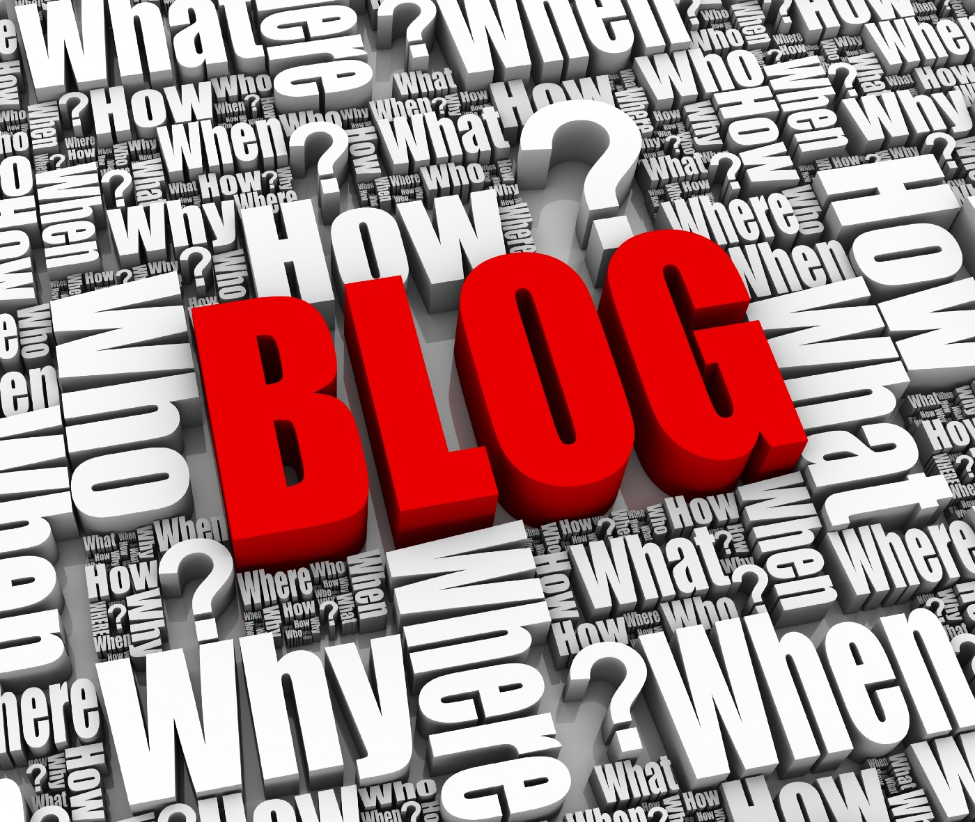 Red word BLOG srrounded by white words; what? when? why? where? how? who?