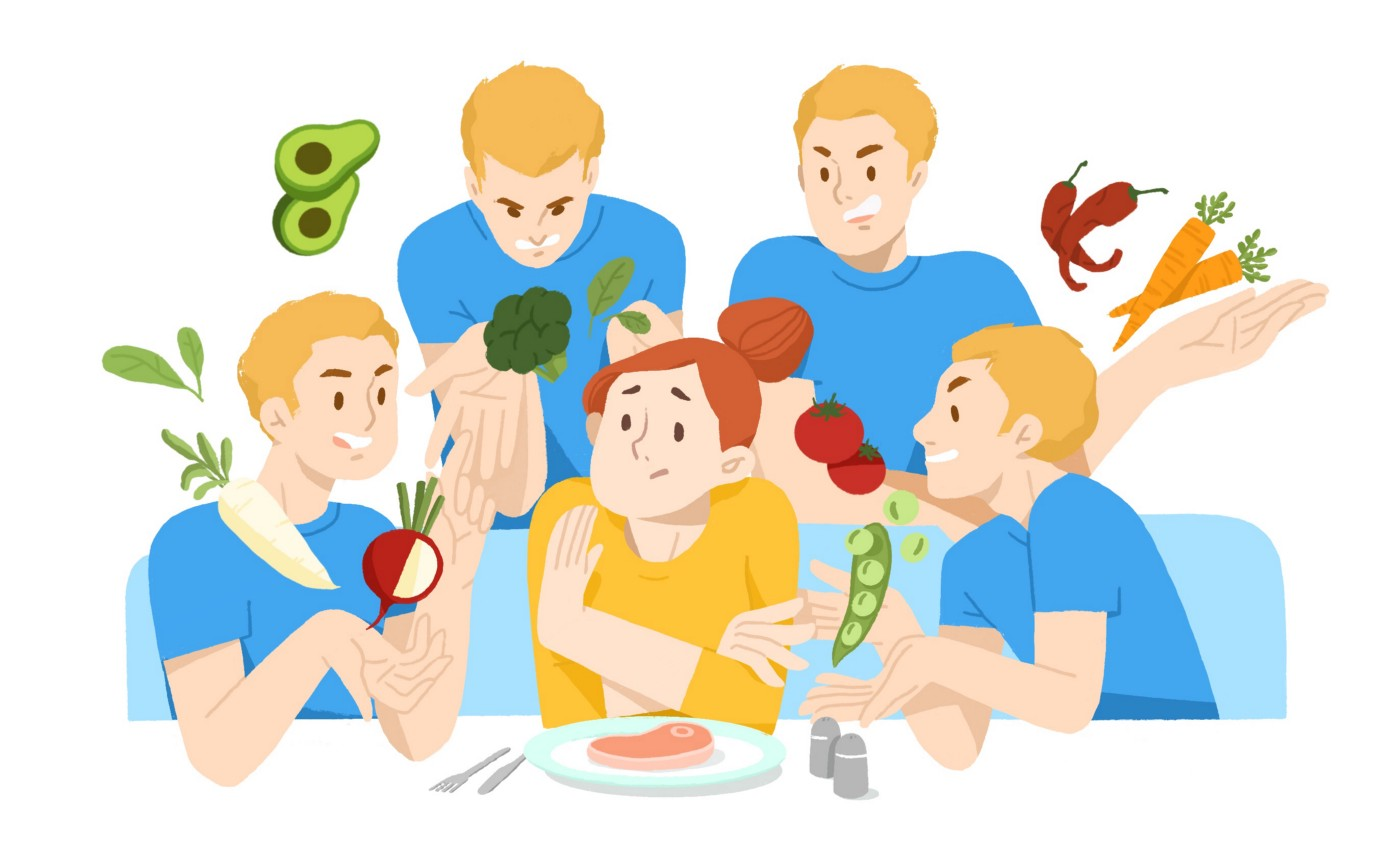 4 identical men holding produce surround an uncomfortable woman with a steak on a plate in front of her.
