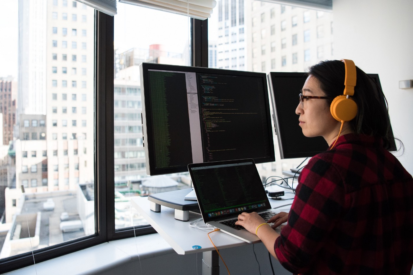 Developer staring out the window