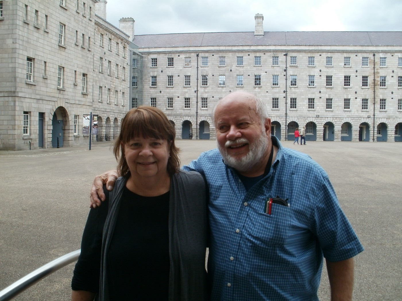 Carolyn Wilhelm, author and publisher, with her husband Gary Wilhelm at a Dublin museum. Photo: Clare O'Beara.
