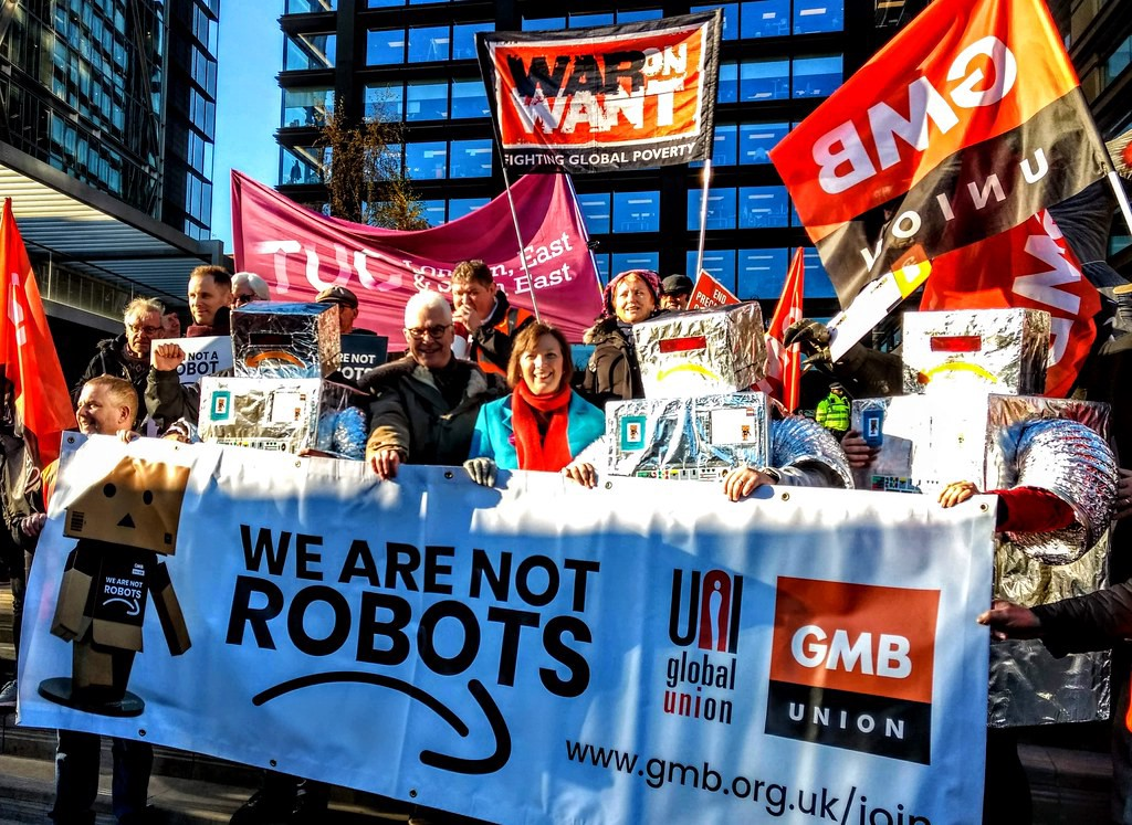 People protesting robots