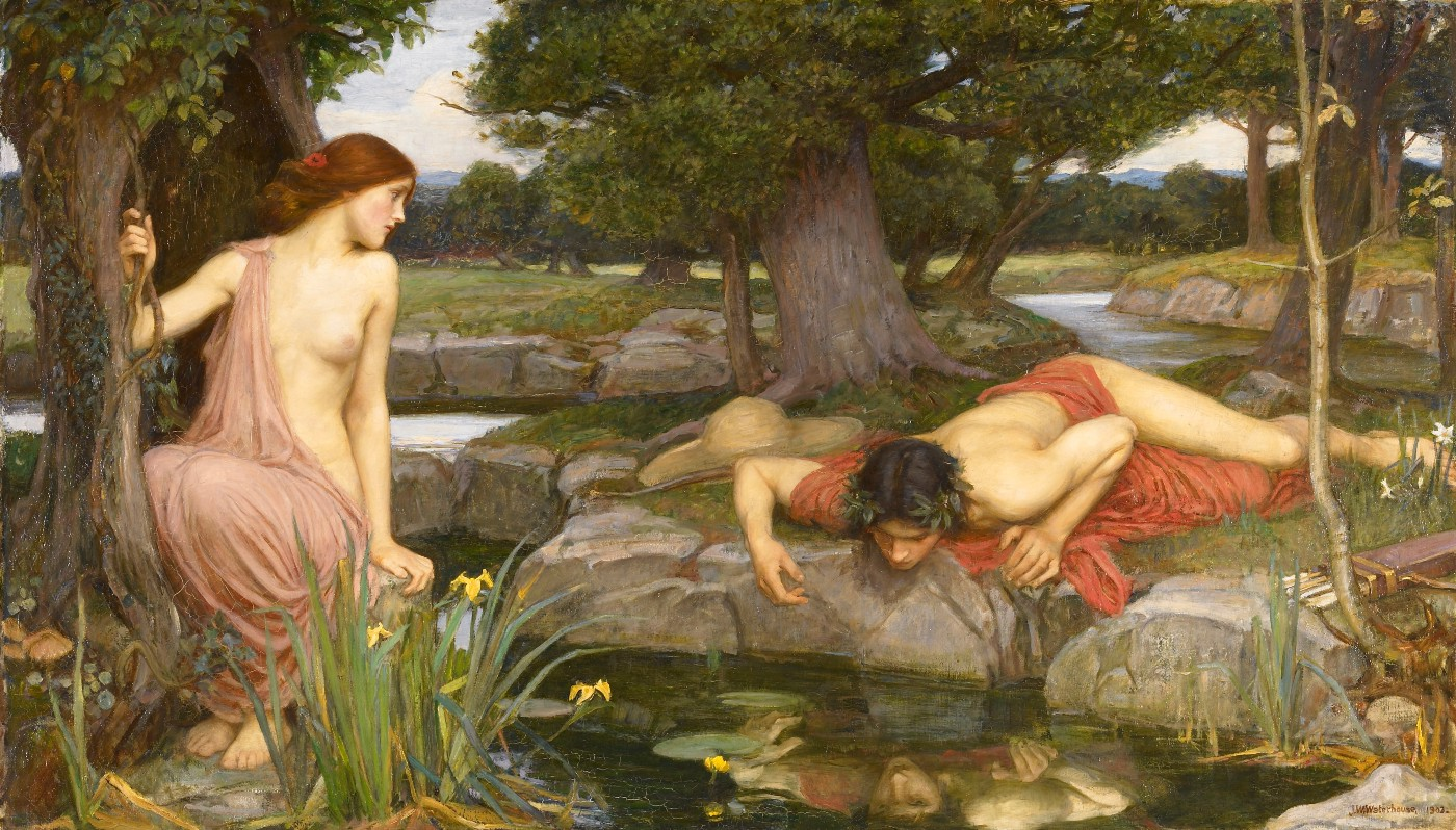 Painting of Echo watching Narcissus contemplating and falling in love with his own reflexion as told in the Greek mythology