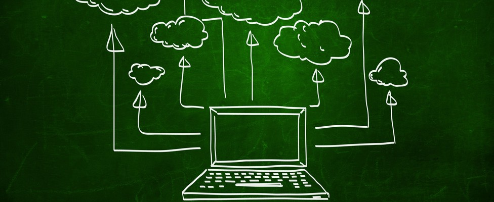 Drawing of a laptop on a green background with arrows pointing upwards to the clouds. https://tdwi.org/articles/2018/12/14/a