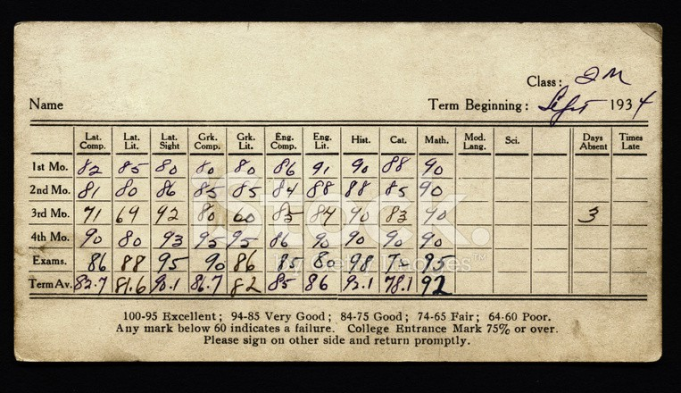 stock image of old report card, with many columns and numbers that make little sense.