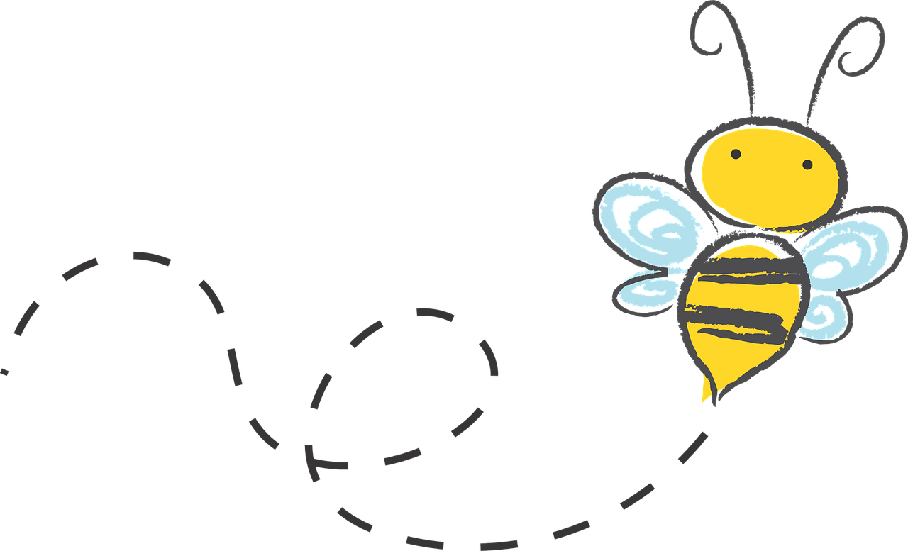 A bee happily flying around