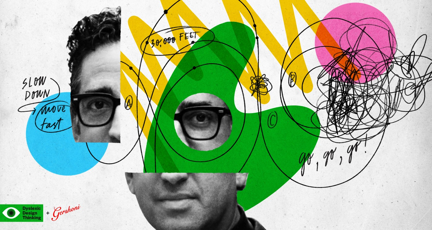 An abstract collage of colorful shapes, black ink and Gil Gershoni's face, representing the process of visualization.