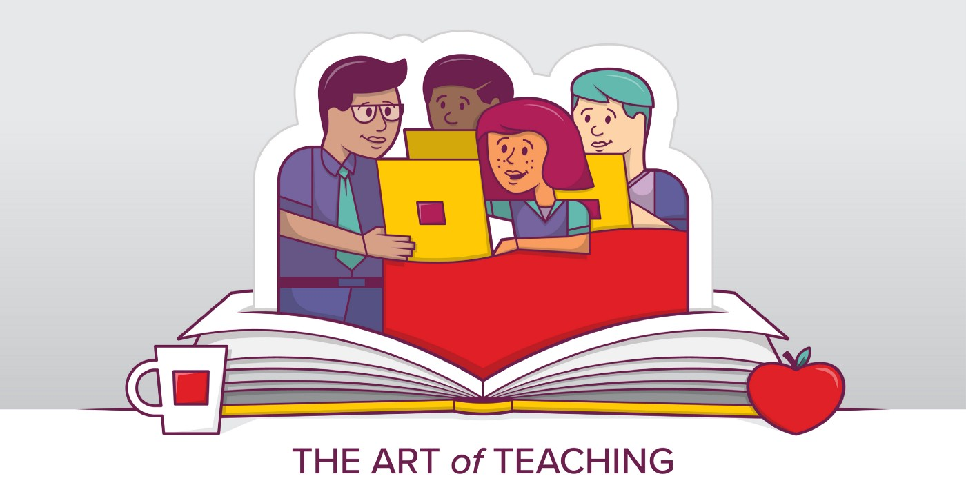 Illustration of learners and a teacher
