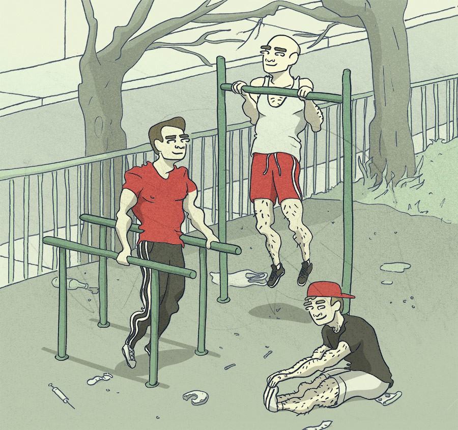 Bros exercising without masks on.
