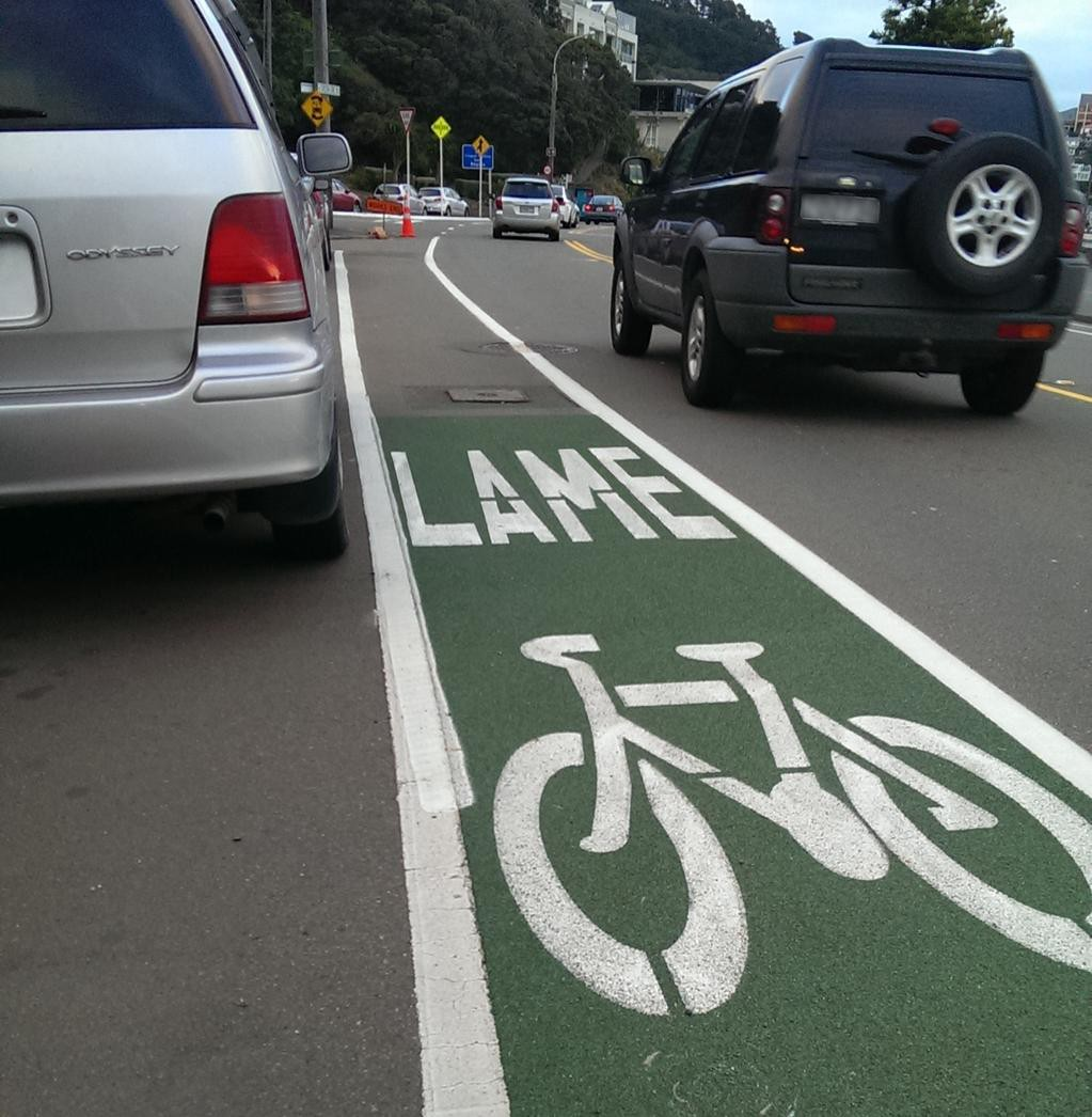 A painted on-road bike lane with the text 'LAME' instead of lane.