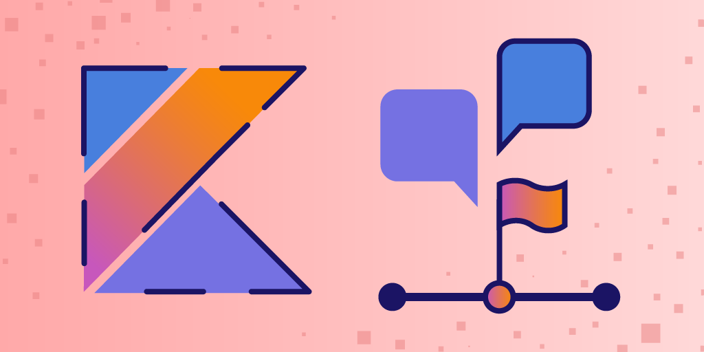 graphic with a stylized K, some comment bubbles, and a flag