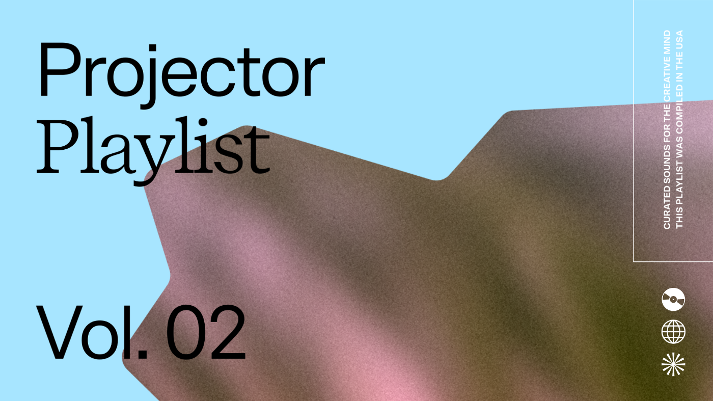 A blue graphic highlighting Projector's new Spotify Playlist for summer.