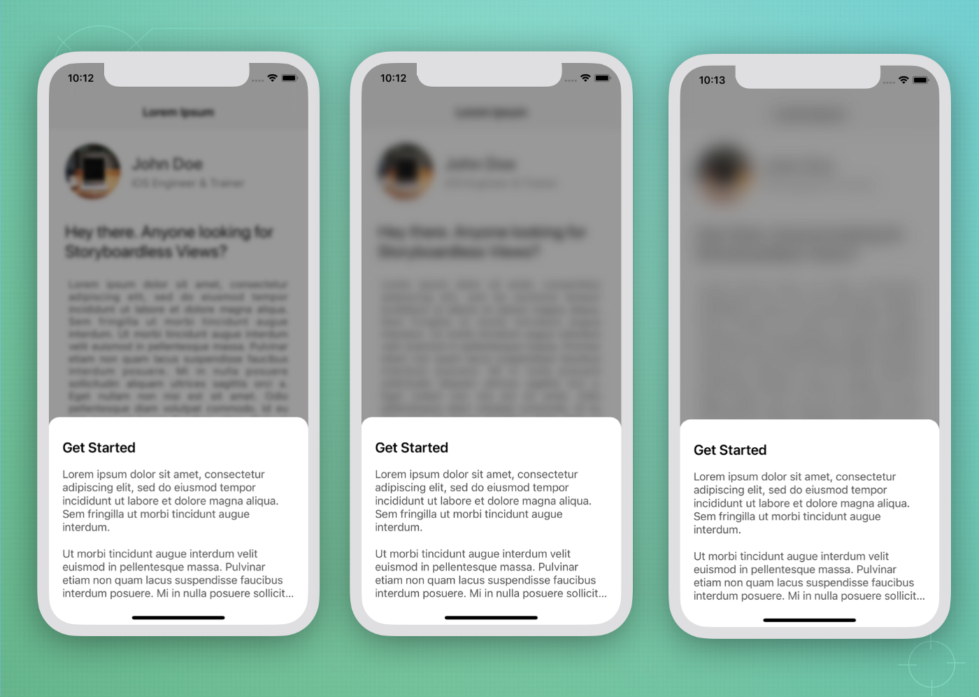 Final output of iOS sheet with blurred background views
