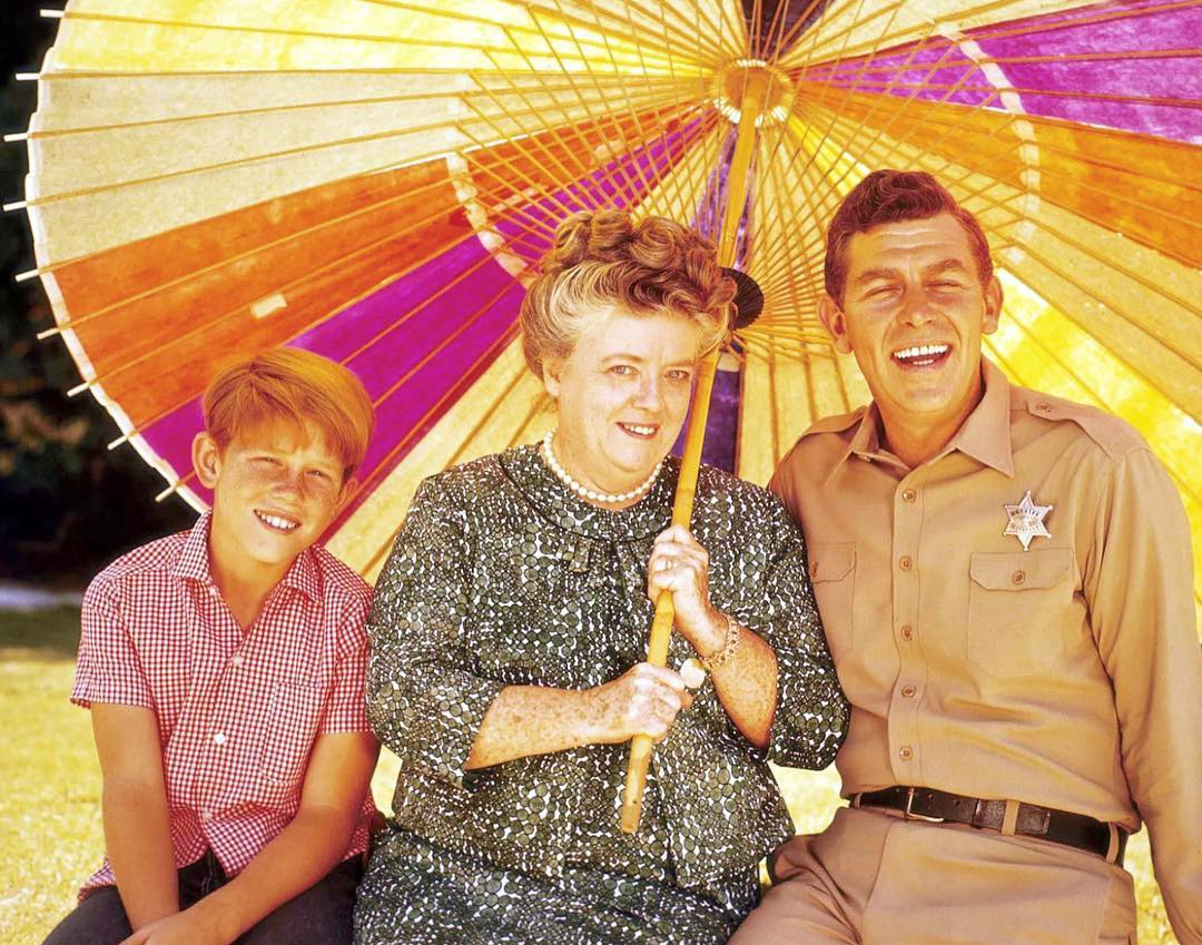 Ron Howard [Opie Taylor], Frances Bavier [Aunt Bee Taylor], and Andy Griffith [Mayberry Sheriff Andy Taylor] circa 1966.
