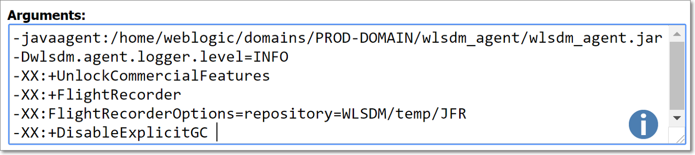 WLSDM installation: Server Parameters - WLSDM for WebLogic