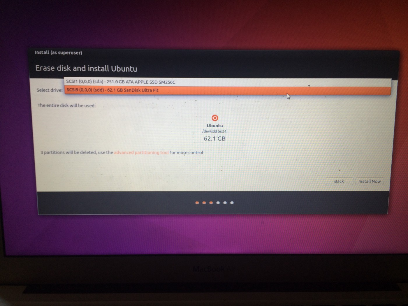 Ubuntu install no hard drives found