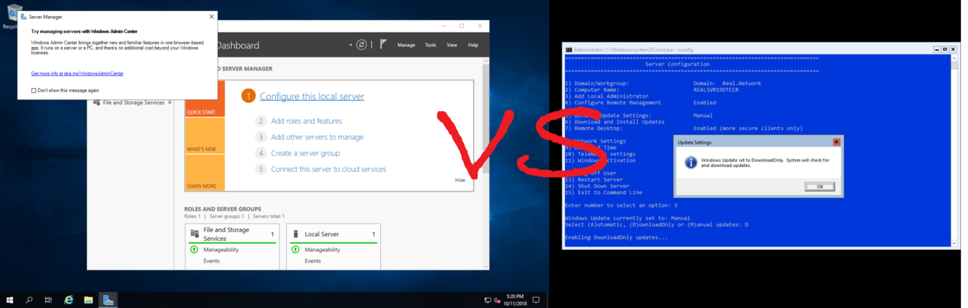 Windows Server 2019 — Server Core vs  Desktop Experience (GUI