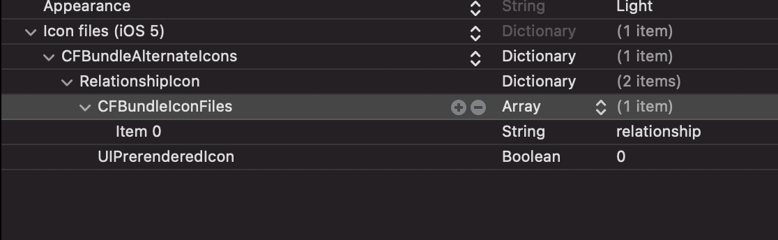 An image of the property list file highlighting the keys needed to configure alternate app icons prior to Xcode 13.