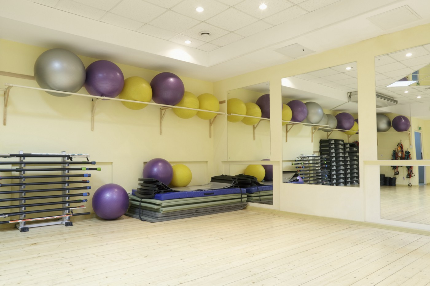 A photo of fitness balls on a rack at the gym.