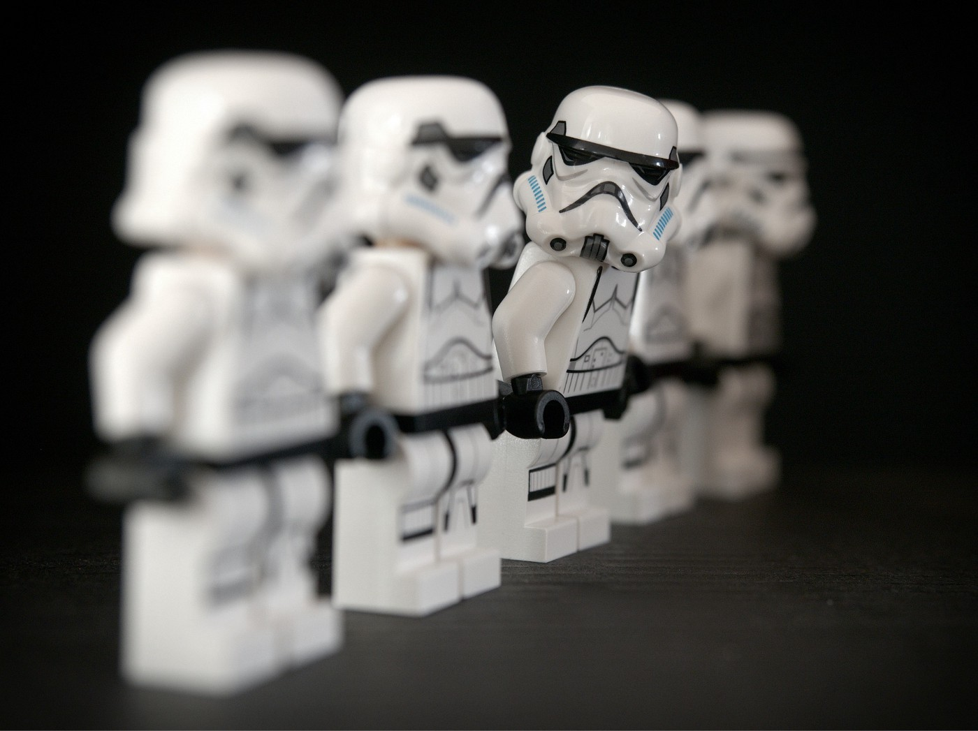Storm Troopers standing in lie with one stick out