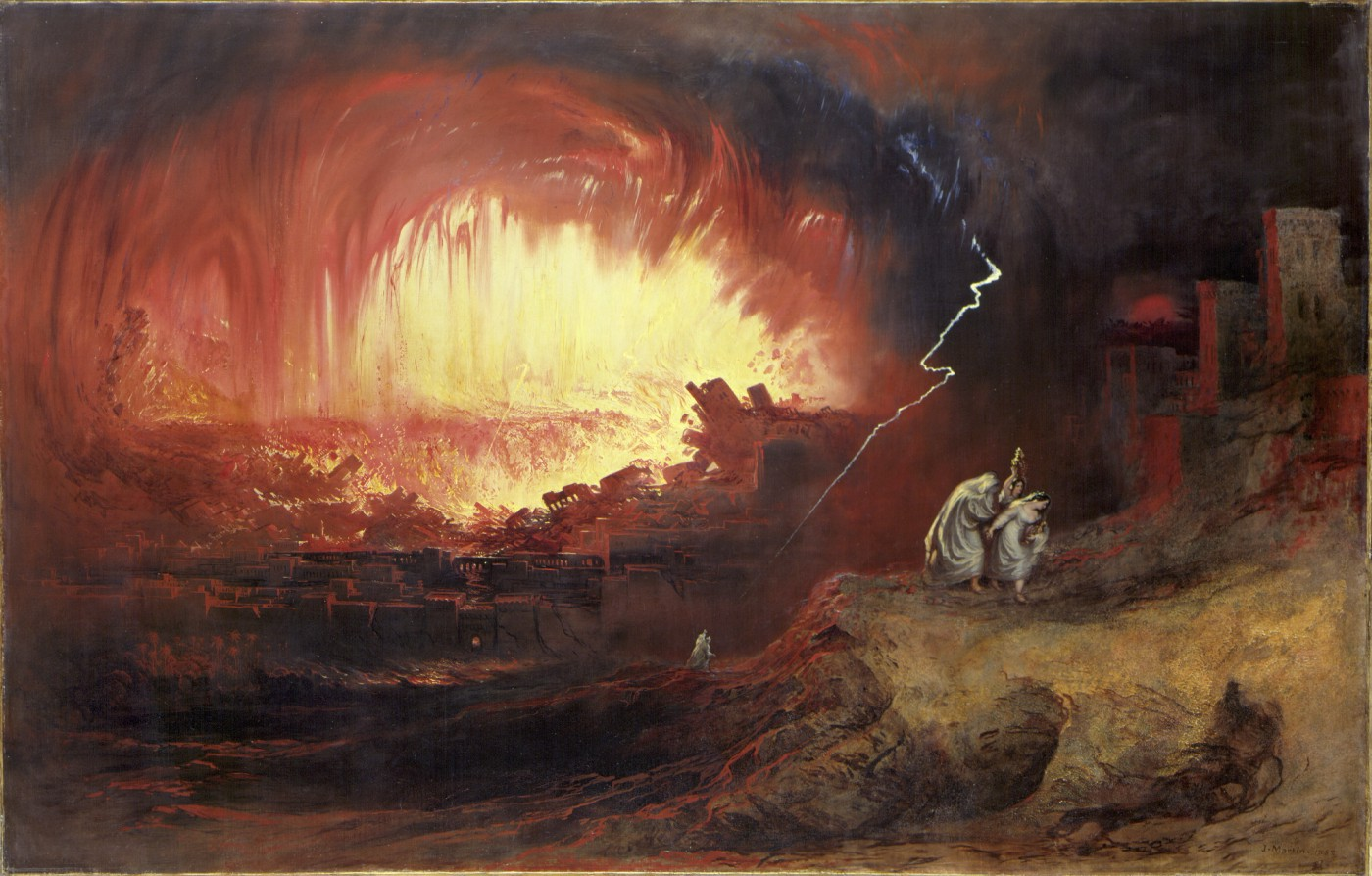 Painting depicting the destruction of a city with fire