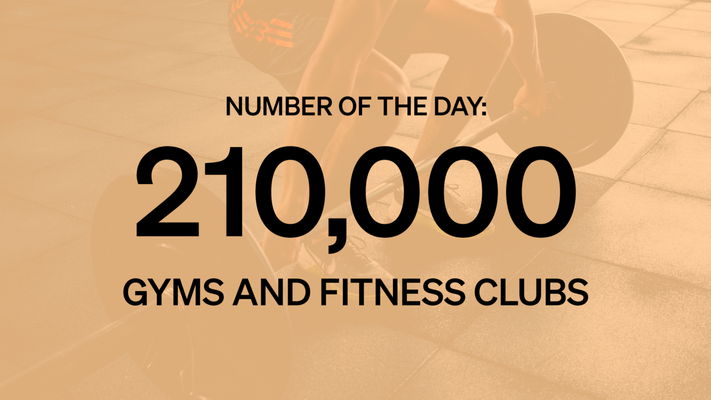 """Graphic card with the text """"Number of the Day: 210,000 Gyms and Fitness Clubs"""""""