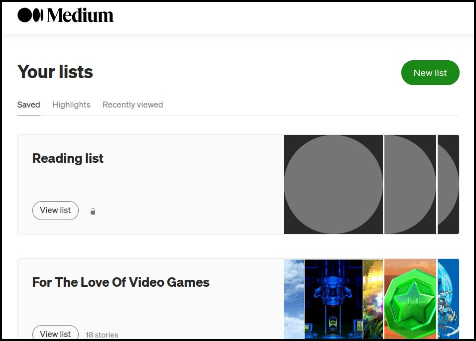 A screenshot of the new Lists page that creators can use to create and manage lists.