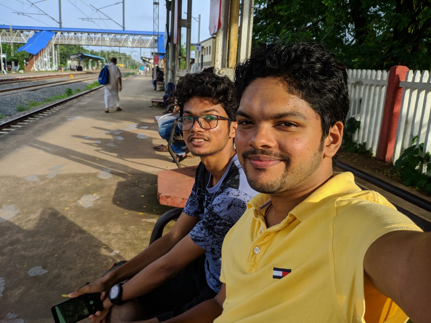 Me(left) and Edwin(right) waiting for the Train at Nileshwar