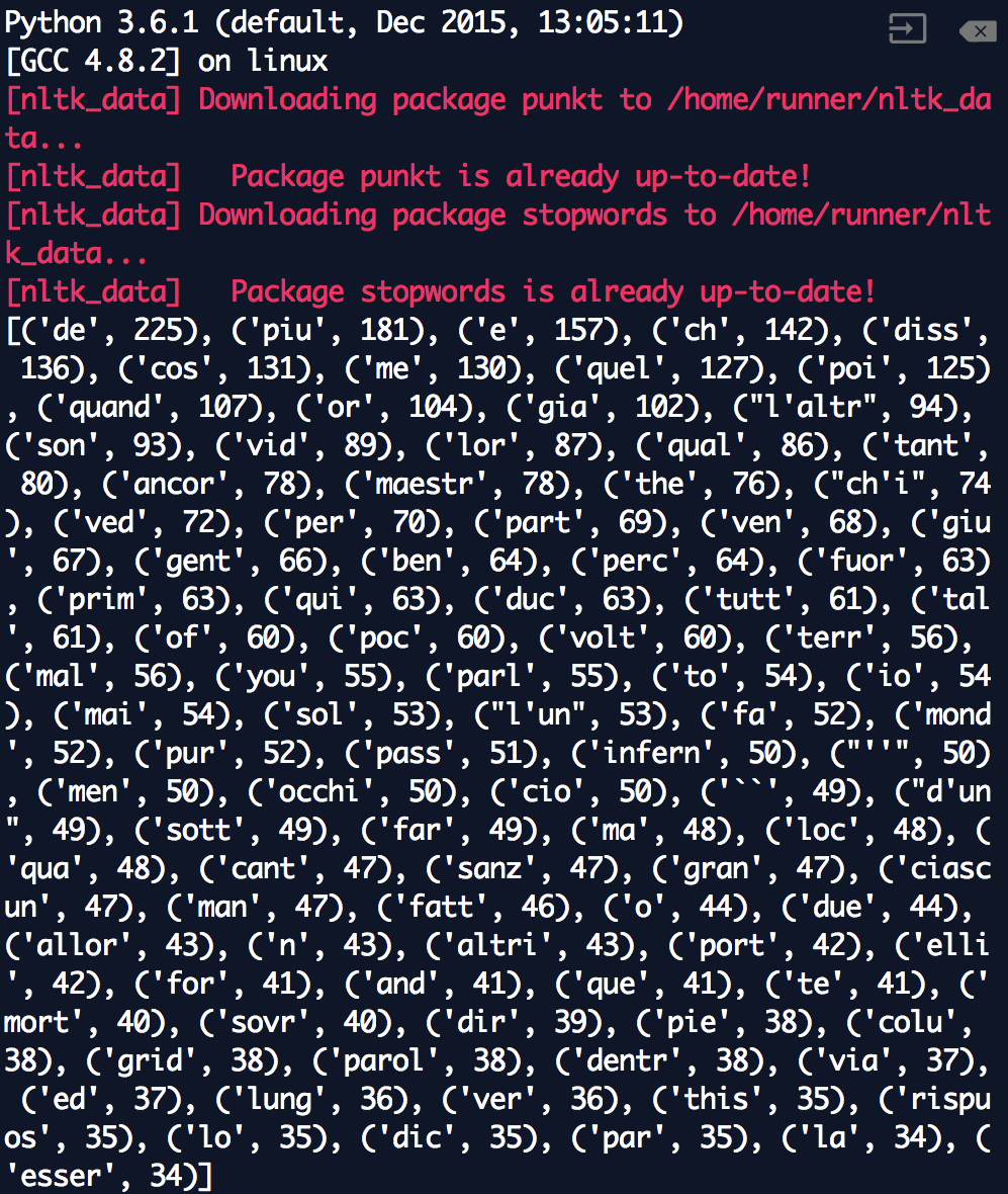 Coding & Foreign Language Lit: Analyzing Dante's Inferno with Python