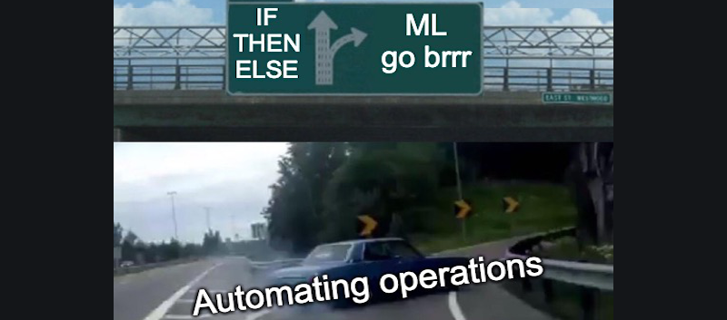 """Car taking sharp turn to exit a highway. Text in lower part of image states """"Automating operations"""". A traffic sign at the top of the image states """"IF THEN ELSE"""" for going forward, and """"ML go brrr"""" if you exit the highway."""