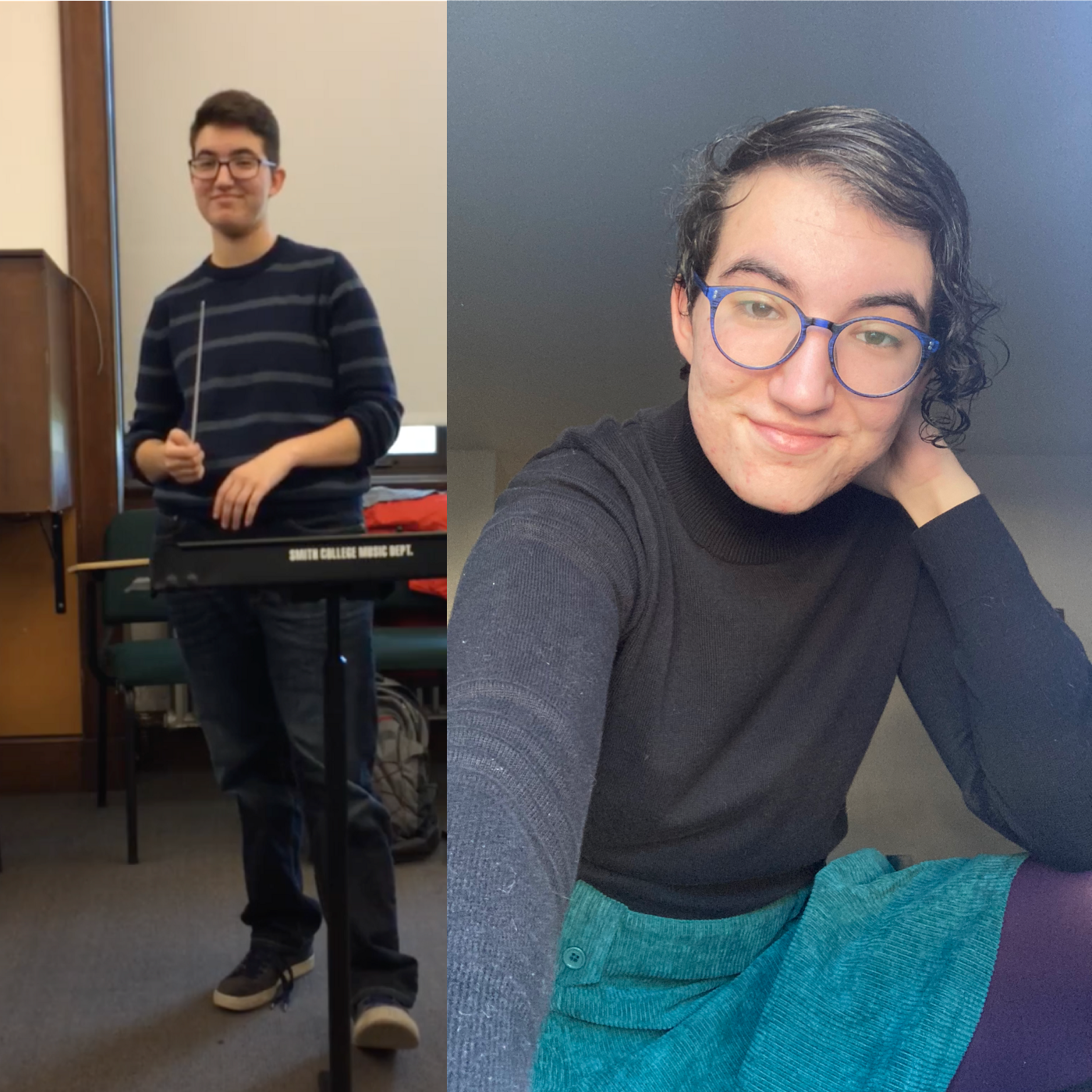 left, the author wears a striped sweater, baggy jeans. right, the author wears a teal corduroy skirt and black turtleneck.