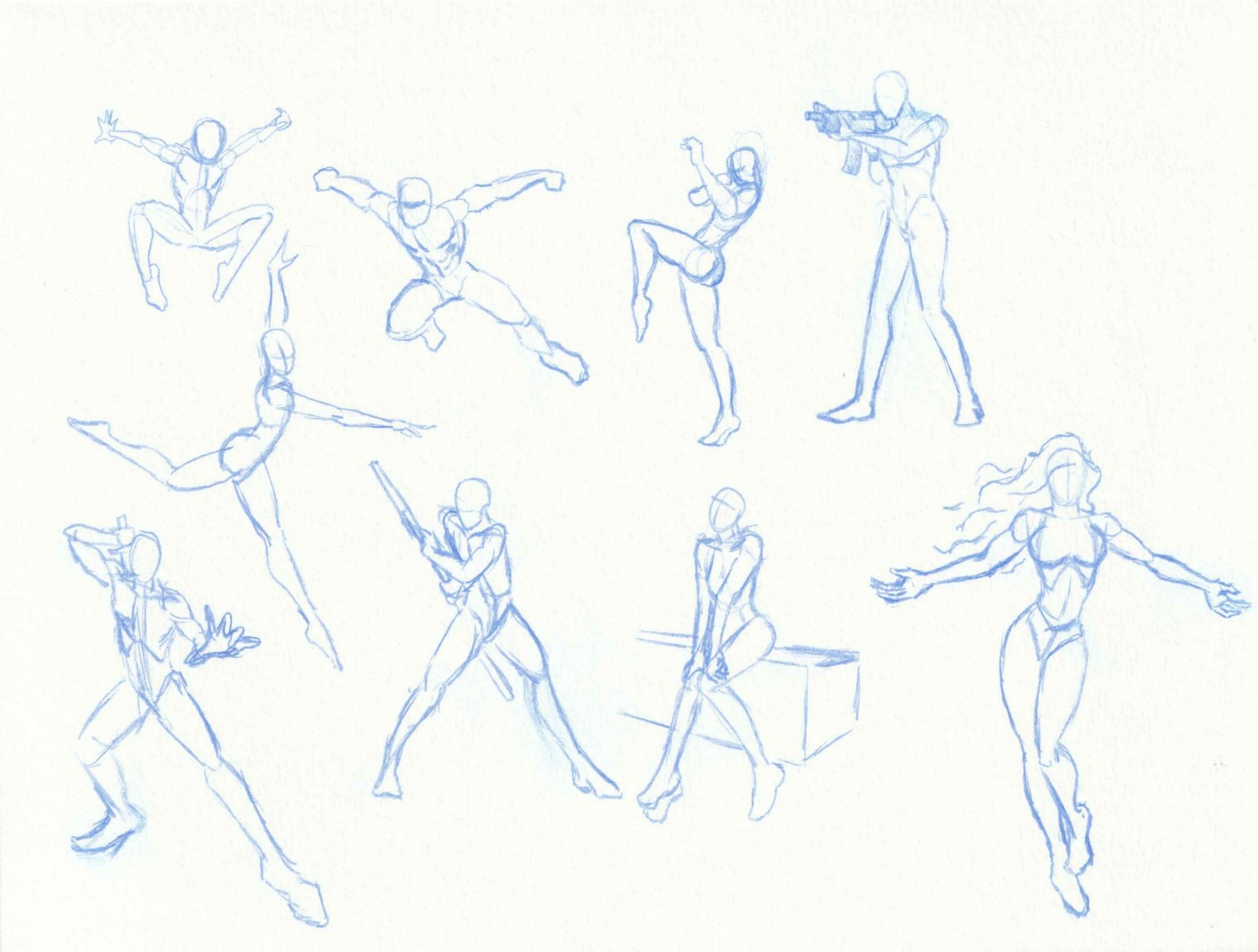 Various figures drawn in pencil, scanned from a sketchbook.