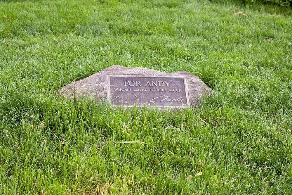 Andy Warhol's memorial stone in central park