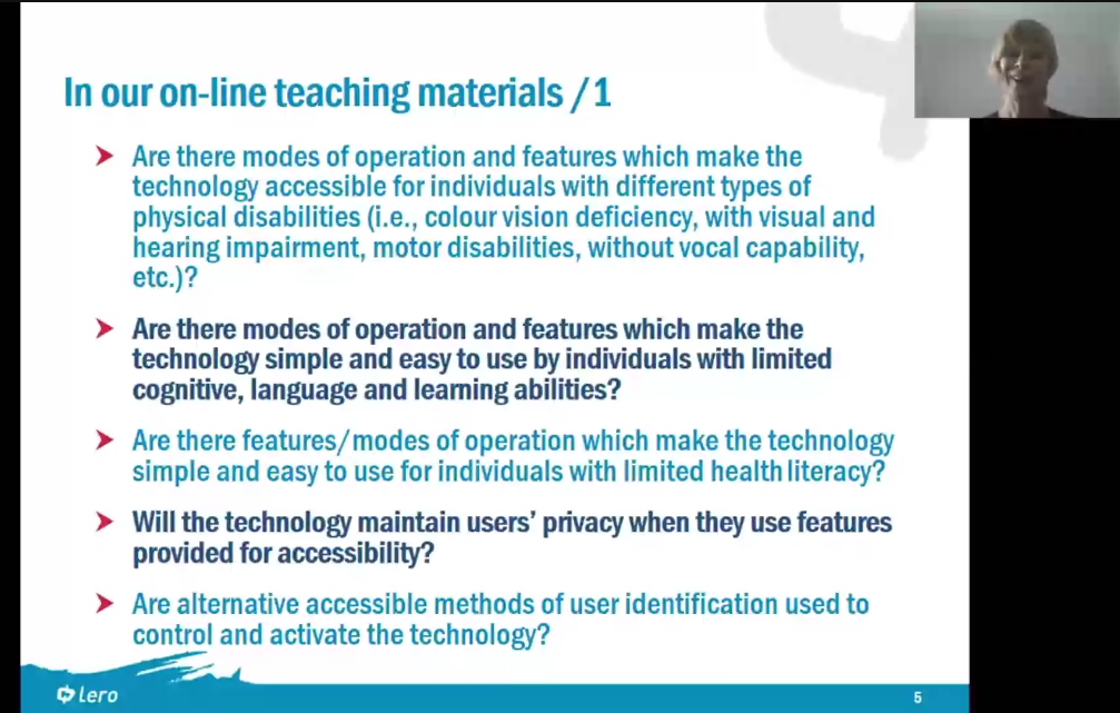 A slide with five bullets on it. Each bullet = 1 of the 21 Qs educators can ask themselves to ensure materials are accessible