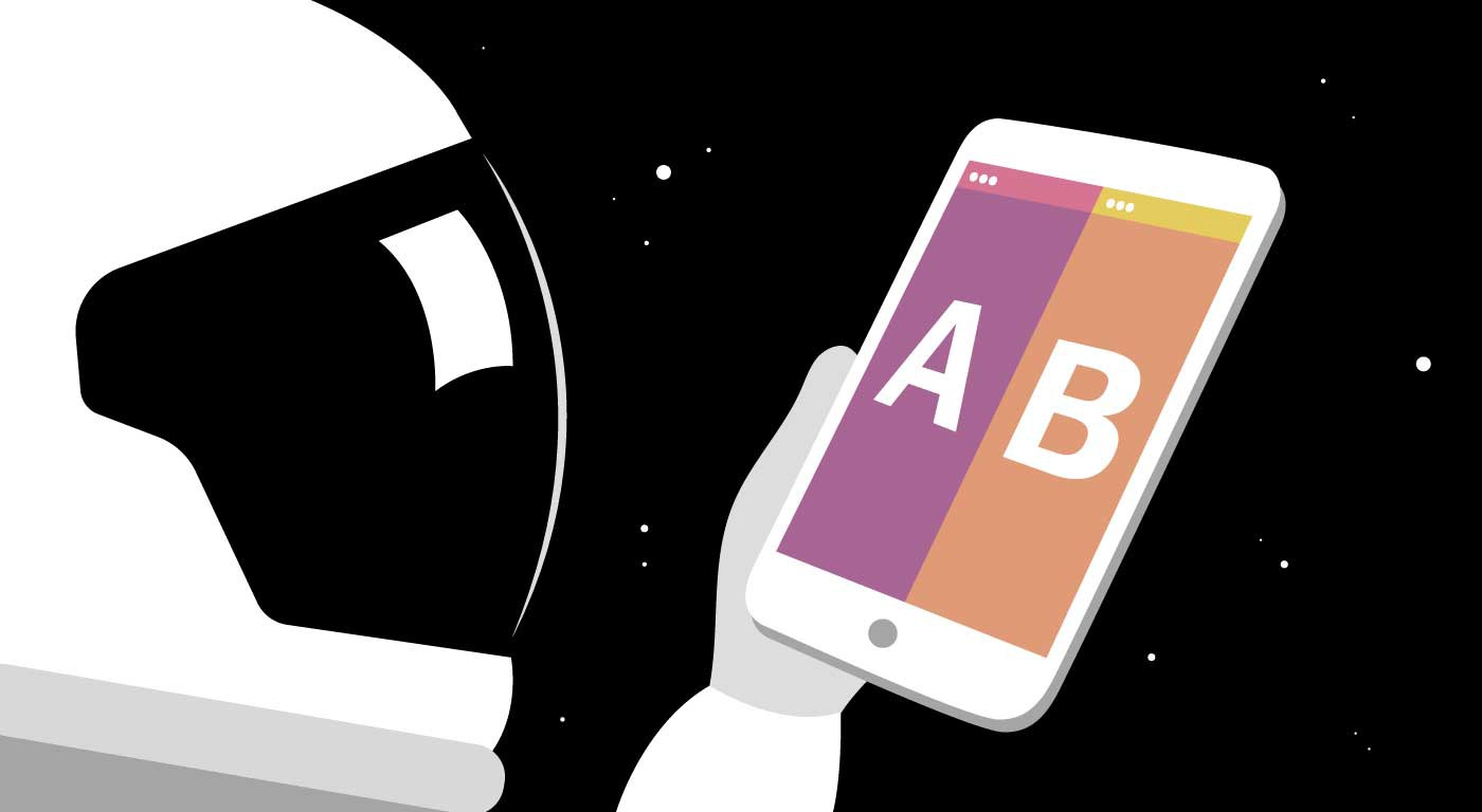 """CRO astronaut holding phone with """"A/B Testing"""" on screen."""