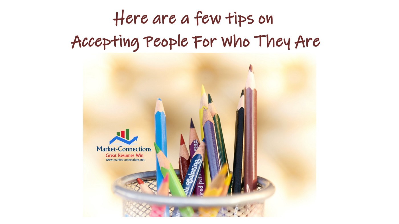 Coloring pencils in a cup, a logo from https://www.market-connectons.net, Title is Tips on Accepting People For Who They Are