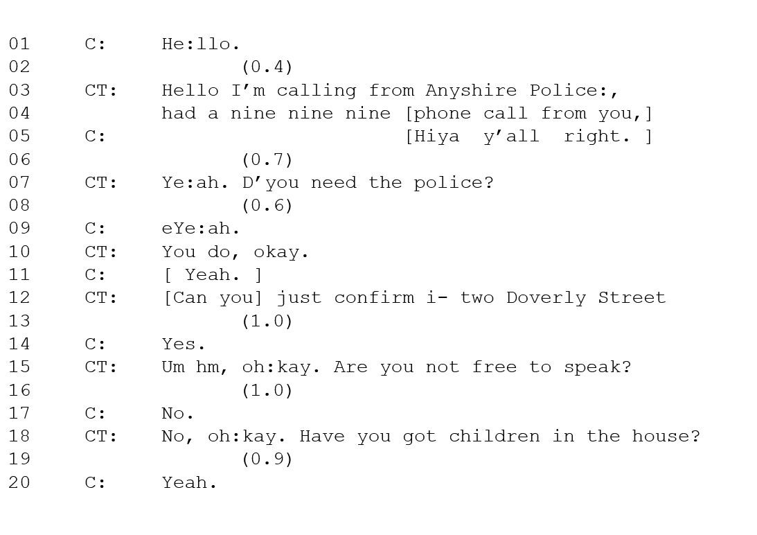 Transcript of a call to the police