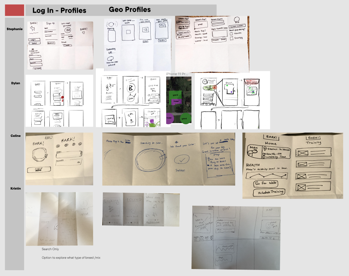 A set of sketches on a Figma board outlining various ideas for our proposed hackathon solution