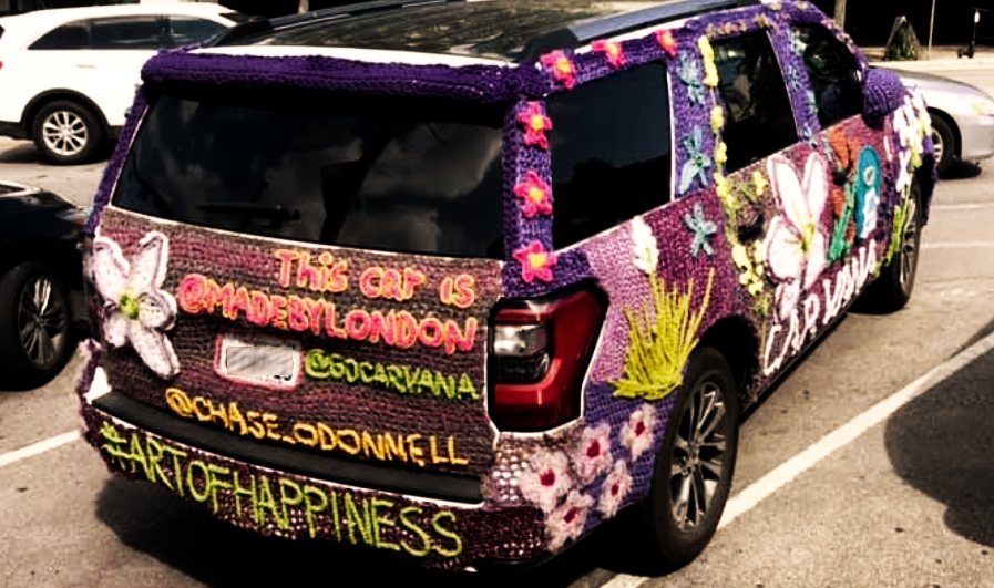 """I found this pimped car with the title """"Art of happiness in Austin, Texas"""