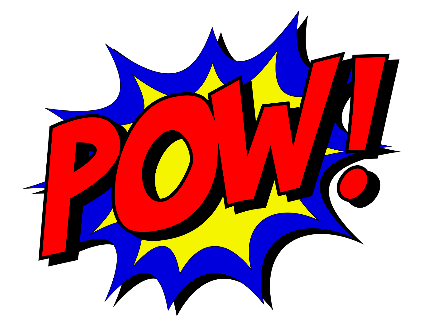 "Comic book style lettering says ""POW!"" in red over an explosive blue and yellow background."